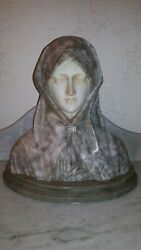 Rare Antique Italian Marble Sculpture Bust Of Maiden By Giuseppe Bessi 1890s