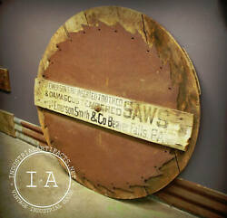 Antique Large Emerson Inserted Tooth Saw Wooden Trade Sign