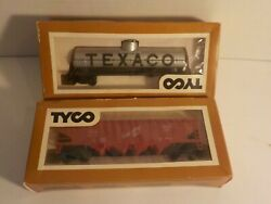 N Tyco Vintage Freight Cars Texaco Oil Tanker Hopper 2 Ho Scale Trains In Box
