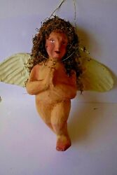 Large Vintage Paper Mache Angel Or Putti Signed