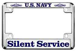 Motorcycle Metal License Plate Frame With U.s. Navy Silent Service Design