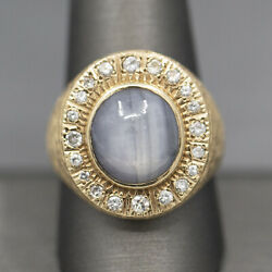 Menand039s Blue Star Sapphire And Diamond Ring In 14k Yellow Gold