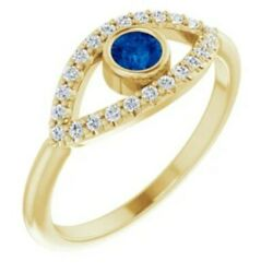 14kt Yellow Gold Evil Eye Pave Sapphire Ring Ward Off Evil Protect New