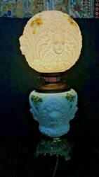 Antique Hand Painted On Glass Table Tamp Convert From Oil To Electrical