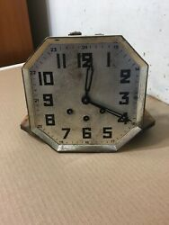 Antique German Art Deco Westminster Chime Wall Clock Movement Parts Odo Style