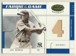 2003 Leaf Certified Materials Fabric Of The Game Lou Gehrig Jersey 1/4 E10397