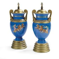 Pair Antique Greco-roman Neoclassical Blue Glazed Pottery Table Lamps