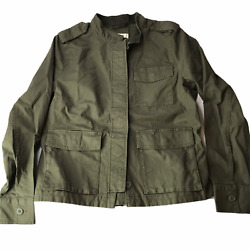 Handm Military Jacket Coat Olive Green Us 14 Large. Buttons Cargo Pockets Cotton