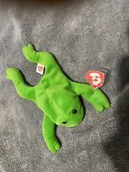 Ty Beanie Babies Legs The Frog Many Errors Missing Star,stamp No Name On Tush