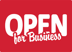 Open For Business --retail Storefront Window | Adhesive Vinyl Sign Decal