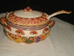 1995 Fitz And Floyd Harvest Times Omnibus Tureen And Ladle