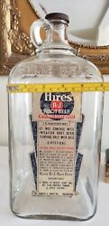 Antique 1938 Hires Root Beer Concentrate 1 Gallon Clear Bottle