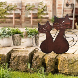 Retro Metal Cat Garden Statues And Figurines For Outdoor Yard Decorations