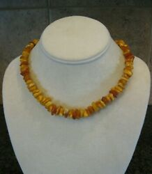 Vintage Baltic And Butterscotch Amber 18andrdquo Necklace W/ Screw Barrel Clasp