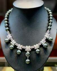 1920's Art Deco Silver Green South Sea Pearl With Genuine Round 5.ct Cz Necklace