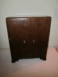 Vintage 1847 Rogers Bros. Silver Plate Dark Wood Box Two Doors Collectible 1950s