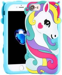 For iPhone 6S 7 8 SOFT SILICONE RUBBER SKIN CASE COVER CUTE BLUE UNICORN $8.90