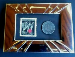 German Ww2 1943 Rare 5 Rp Coin And Stamp In Metal Frame 4