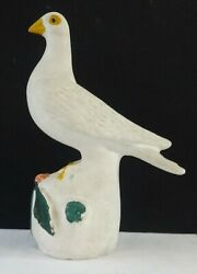 Antique Penna. Chalkware Garniture Figure Of A Dove On Berry Mound Orig. Paint