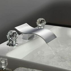 Chrome Deck Mount Widespread Waterfall Bathroom Sink Faucet And 2 Crystal Handle