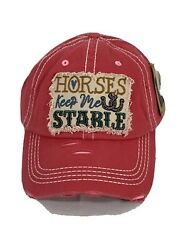 New Horses Keep Me Stable Embroidered Vintage Distressed Baseball Cap Pink Hat