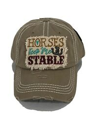 New Horses Keep Me Stable Embroidered Vintage Distressed Baseball Cap Khaki Hat