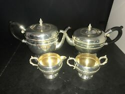 Viking Plate Silver Plated On Copper 2 Teapots Creamer And Sugar Bowl
