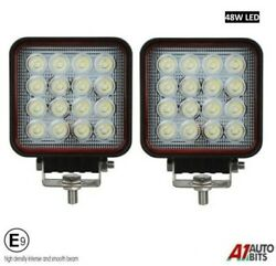 Two Powerful 48w Led 4.3and039and039 Square Led Work Lights 12v 24v For Lorry Trailer Cab