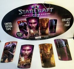 Rare Cardboard Starcraft Ii 2 Heart Of The Swarm Ampm Cup Display And Cups