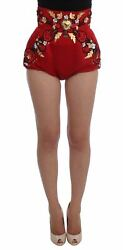 Dolceandgabbana Women Red Mini Shorts Silk Crystals Floral Embroidery Hot Pants