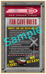 Red Arrow Lines Wood Plaque-sign /man Cave/train And Kids Room
