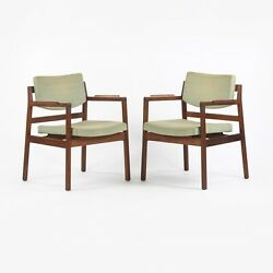 Pair Of Vintage 1960s Jens Risom Design Inc Dining Chairs Armchairs Fabric Knoll