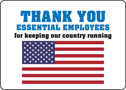 Essential Employees For Keeping Our Country Running   Adhesive Vinyl Sign Decal