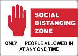 Social Distancing Zone Only Xx People Allowed | Adhesive Vinyl Sign Decal