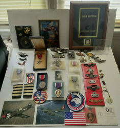 Lot Misc Us Military Memorabilia Pins Patches Medal Buckles Postcards Etc