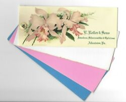 Vintage Celluloid Blotter E Keller And Sons Jewelers Opticians Allentown Pa Orchid