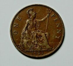 1927 Uk British George V Coin - One Penny 1d - Brown