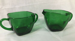 Creamer And Sugar Charm Forest Green Anchor Hocking Square Vtg Depression Glass