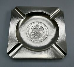 Vtg Zee Sung C1900 Solid Silver Chinese Export 1887 Mexico 8 Reales Coin Ashtray