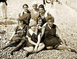 Seven Bathing Beauties on the Beach Old Photo 8.5quot; x 11quot; Reprint $12.58
