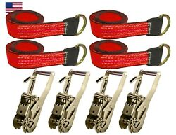 Usa 8pc Red 8' Lasso Strap 2 Ratchet W/ Finger Hook Tow Truck Tire Wheel Tie