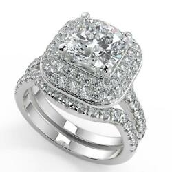2.4 Ct Cushion Cut Double Halo Pave Diamond Engagement Ring Set Si2 F White Gold