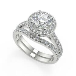 1.9 Ct Round Cut Halo French Pave Diamond Engagement Ring Set Vs2 H White Gold