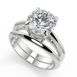 0.75 Ct Round Cut 4 Prong Solitaire Diamond Engagement Ring Set Vs1 D White Gold