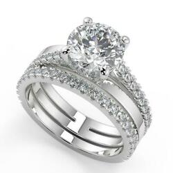 2.25 Ct Round Cut Promise Pave Diamond Engagement Ring Set Si2 F White Gold 18k