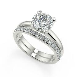 1.6 Ct Round Cut Four Prong Solitaire Diamond Engagement Ring Set Si1 F 14k
