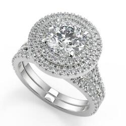 3.15 Ct Round Cut Double Halo Pave Diamond Engagement Ring Set Si2 G White Gold