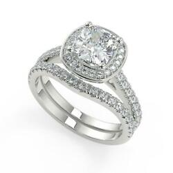 2.05 Ct Cushion Cut Halo French Pave Diamond Engagement Ring Set Si2 D 18k