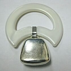 Vintage Reed And Barton Sterling Silver Baby Rattle White Plastic Teething Ring