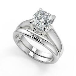0.6 Ct Cushion Cut 4 Prong Claw Solitaire Diamond Engagement Ring Set Vs1 D 18k